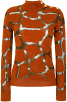 Balmain Turtle-neck Wool Sweater With Gold Buttons
