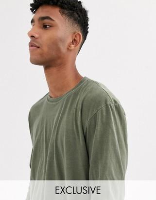 Reclaimed Vintage oversized long sleeve t-shirt in khaki-Green
