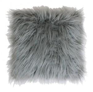 "Thro Keller Faux Mongolian Reverse To Micromink Pillow, 16"" x 16"""
