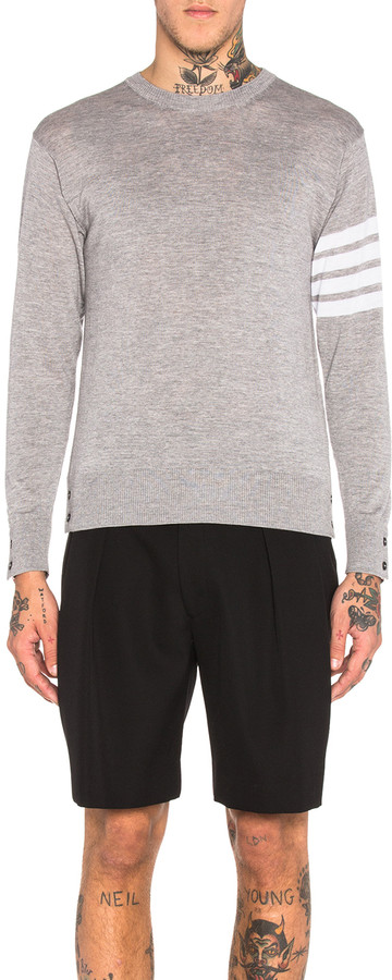 Thom Browne Classic Merino Crewneck Sweater in Light Heather Grey | FWRD