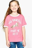 Boohoo Girls My Unicorn Made Me Do It Tee