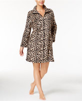 Miss Elaine Plush Fleece Zip-Front Short Robe