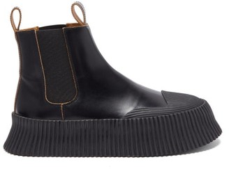 Jil Sander Ribbed-sole Leather Chelsea Boots - Black