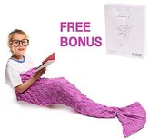 Mermaid Tail Blanket, Amyhomie Mermaid Crochet Blanket for Adult and Kids, All Season Sleeping Bag (Kids, Scale-Darkpink)