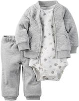 Carter's Baby Boy Quilted Cardigan, Printed Bodysuit & Pants Set