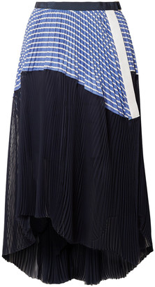 Sacai Asymmetric Pleated Striped Cotton And Chiffon Wrap Skirt