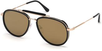 Tom Ford Tripp Metal & Acetate Aviator Sunglasses