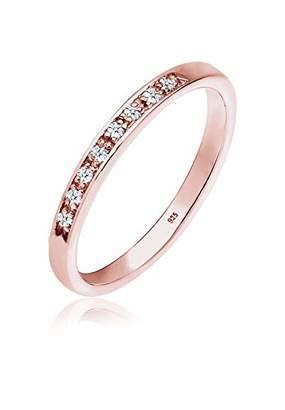 Diamore Women 925 Silver Silver Round Diamond Anniversary Plain Band Ring