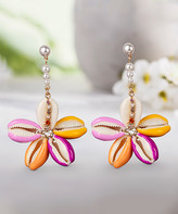 Steve Madden Women's Earrings Multi - Pink & Yellow Sea Shell Flower Drop Earrings