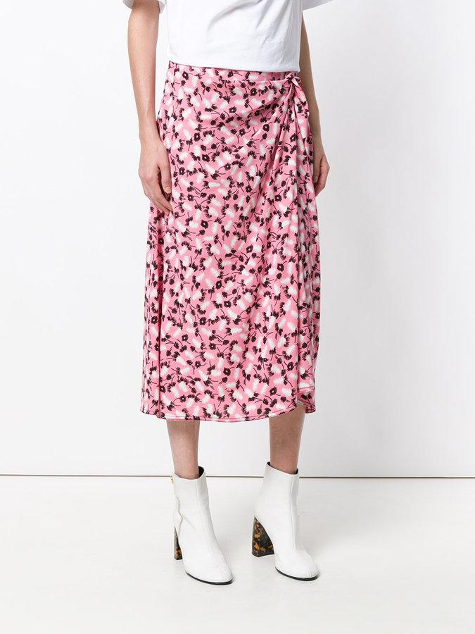 Marni Plume print wrap skirt