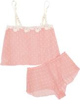 Hanky Panky Darlington Lace-trimmed Polka-dot Chiffon Pajama Set - Baby pink