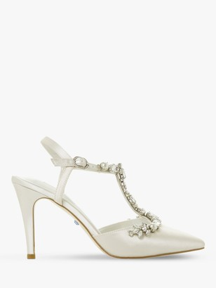 Dune Bridal Collection Corsage Embellished T-Bar Court Shoes, Ivory