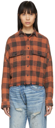 R 13 Red Plaid Cropped Word Shirt