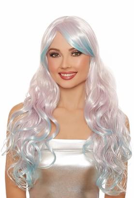 Dreamgirl Women's Long Wavy Pale Lilac/Light Blue Ombre Wig