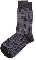 Neiman Marcus Circle-Pattern Heather Crew Socks