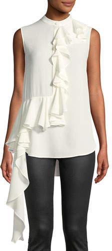 Alexander McQueen Mock-Neck Sleeveless Button-Front Asymmetric-Ruffle Silk Blouse