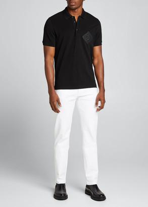 Fendi Men's Pique Polo Shirt w/ Mesh FF Patch