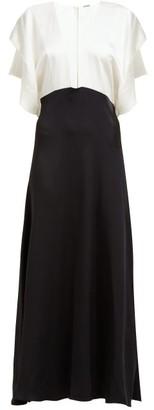 Dodo Bar Or Byon V Neck Satin Maxi Dress - Womens - Black White