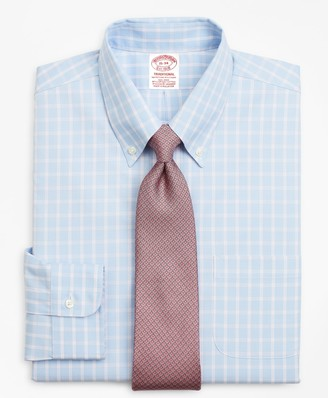 Brooks Brothers Stretch Traditional Relaxed-Fit, Non-Iron Windowpane