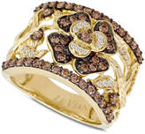 LeVian Le Vian Chocolate Diamonds® Flower Ring (1 ct. t.w.) in 14k Gold