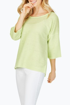 Foxcroft Kim Textured Knit 3/4 Sleeve Top