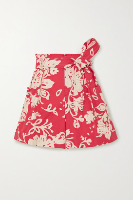 RED Valentino Belted Floral-print Cotton-poplin Shorts