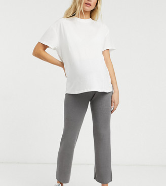 New Look Maternity co-ord wide leg pant in dark grey