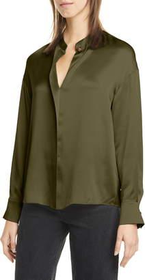 Vince Wrap Front Long Sleeve Silk Blouse
