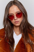 Retro Feline Cat Eye Sunglasses Red
