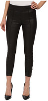 7 For All Mankind Seamed Leggings w/ Ankle Zips in Black Leather-Like