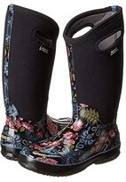Bogs Classic Winter Blooms Tall (Black Multi) Women's Shoes