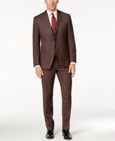 Perry Ellis Portfolio Men's Slim-Fit Brown Vested Suit