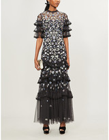 Selfridges Needle And Thread Meadow floral sequin and tulle gown