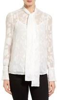MICHAEL Michael Kors Women's Tie Neck Floral Jacquard Blouse