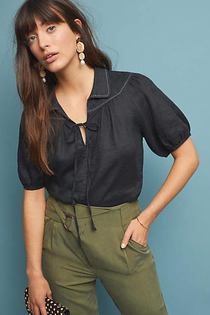 Maeve Collared Linen Blouse