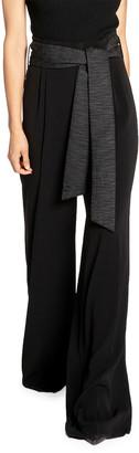 Santorelli Crepe Wide Leg Pants w/ Crinkle Silk Belt & Paperbag Waist Detail