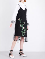Sharon Wauchob Floral-embroidered silk mesh dress
