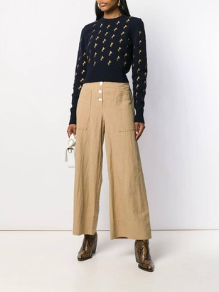 Chloé Evening Blue Horse Embroidered Jumper