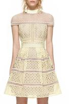 Self-Portrait Self Portrait Crosshatch Panelled Mini Dress Yellow