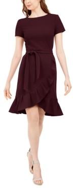 Calvin Klein Ruffled Tulip-Hem Crepe Dress