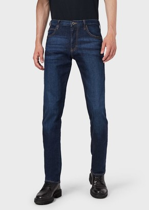 Emporio Armani Regular-Fit J45 Jeans In Washed Comfort Denim