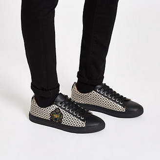 River Island Black RI monogram low top cupsole trainers