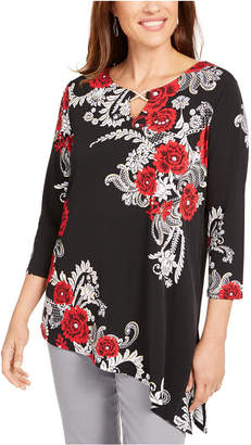 JM Collection Petite Embellished Asymmetrical Tunic