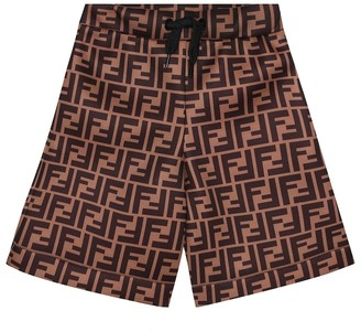 Fendi Kids Logo bermuda shorts