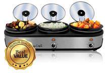 Megachef Smart Kitchen 3-Pot Slow Cooker, 2.5 Qt.