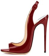 Eldof Womens High Heel Sandals| Open Toe Slingback 12cm Pumps | Classic Wedding Dress Shoes Patent Leather US5