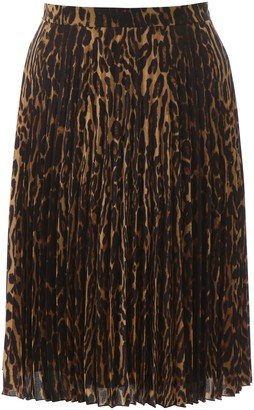 Burberry Pleated Animalier Skirt