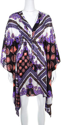 Versace Multicolor Sun and Crystals Motif Printed Silk Kaftan Tunic M