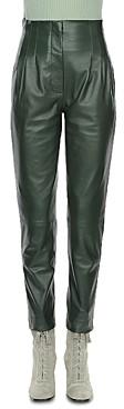 Alberta Ferretti Leather High Rise Pants