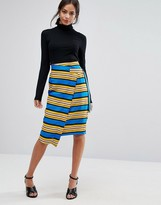 Liquorish Striped Wrap Midi Skirt With D Ring